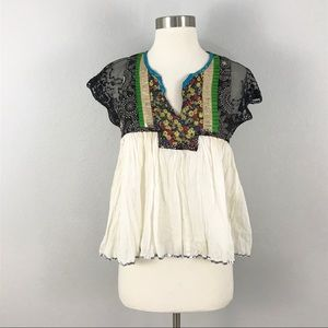 Free People small Top Blouse Embellished Babydoll
